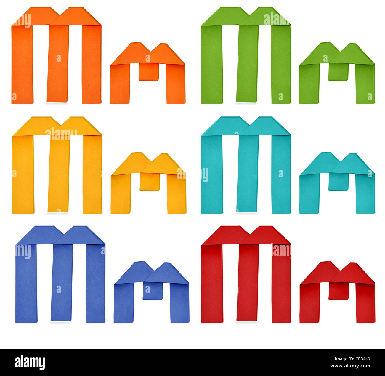 Set of capital letter and lowercase letter 'M' in various color. Origami alphabet letter on white background. - Stock Image