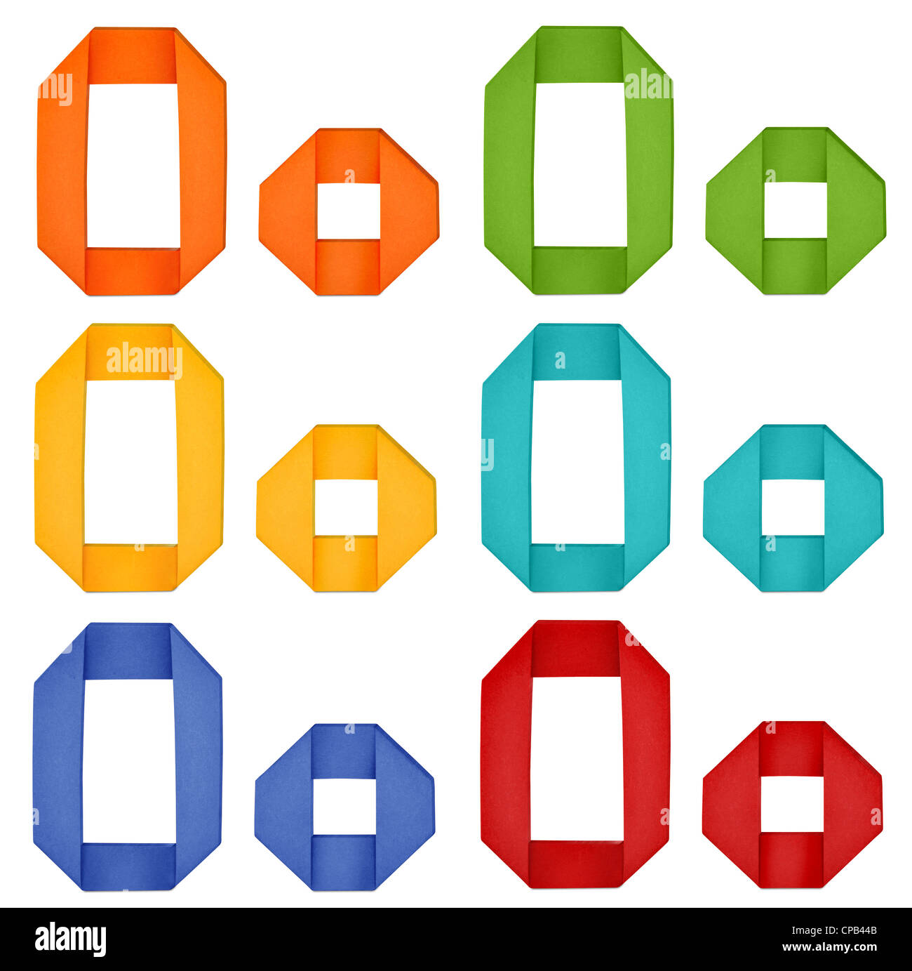 Set of capital letter and lowercase letter 'O' in various color. Origami alphabet letter on white background. - Stock Image