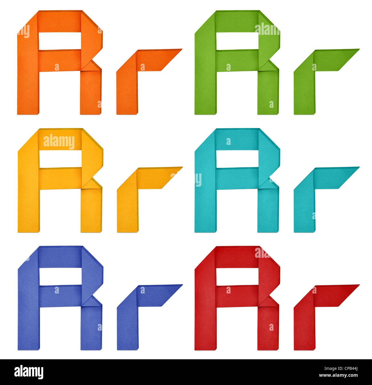 Set of capital letter and lowercase letter 'R' in various color. Origami alphabet letter on white background. - Stock Image