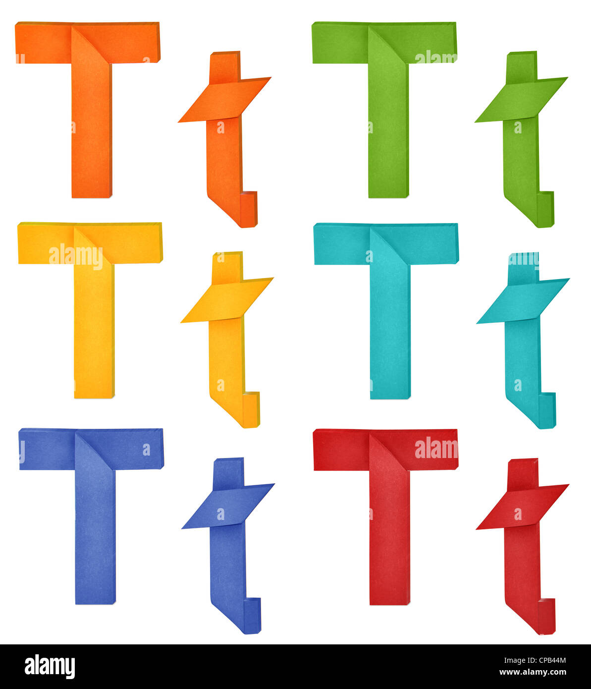 Set Of Capital Letter And Lowercase Letter T In Various Color