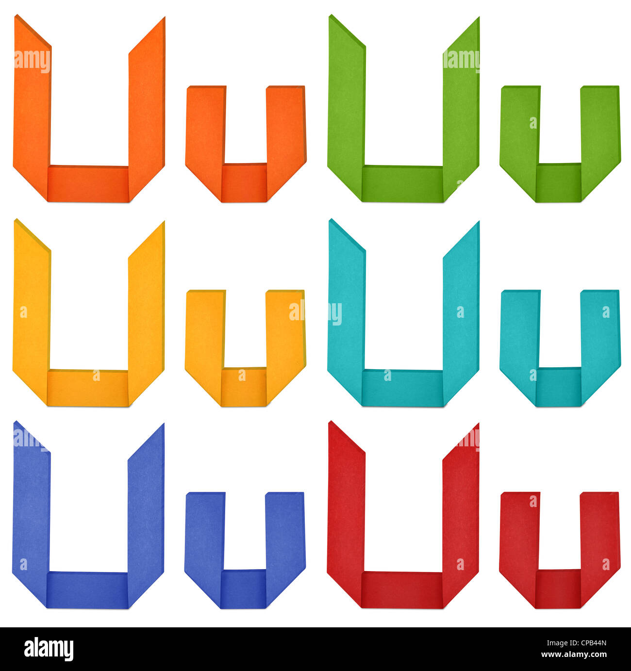 Set Of Capital Letter And Lowercase U In Various Color Origami Alphabet On White Background