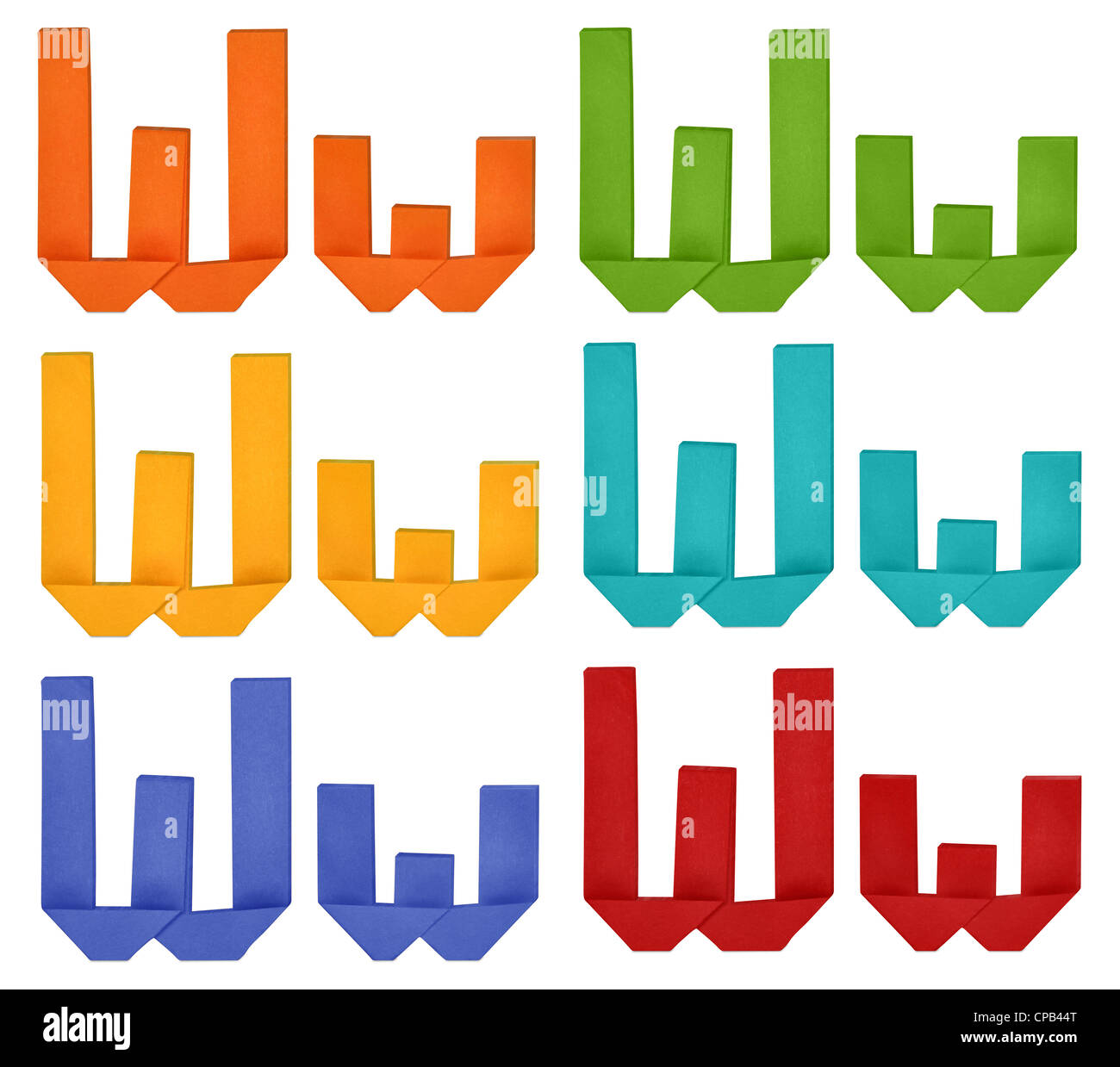Set of capital letter and lowercase letter 'W' in various color. Origami alphabet letter on white background. - Stock Image