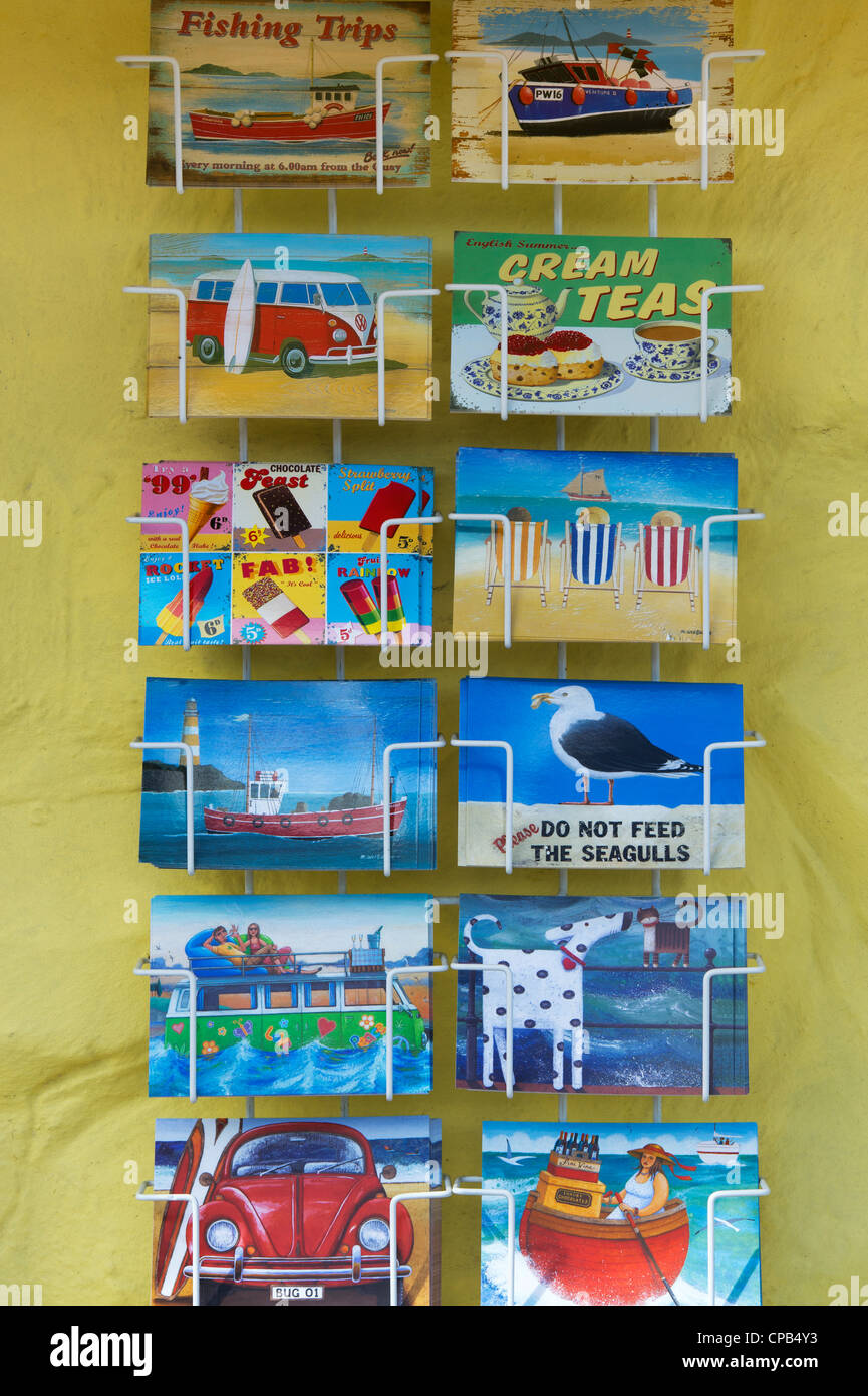 British holiday postcards in a stand. Cornwall. England - Stock Image