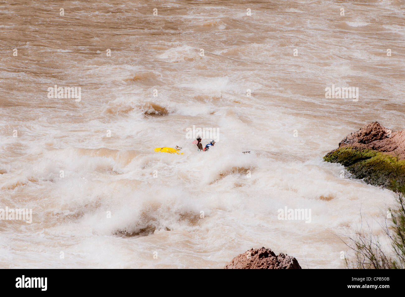 Whitewater rafting through Lava falls (class 9+) on the Colorado River in Grand Canyon National Park AZ - Stock Image