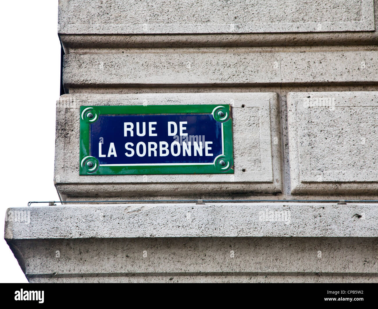 In Sorbonne street is located La Sorbonne, ne of the oldest University of the world, founded in 12th century Stock Photo