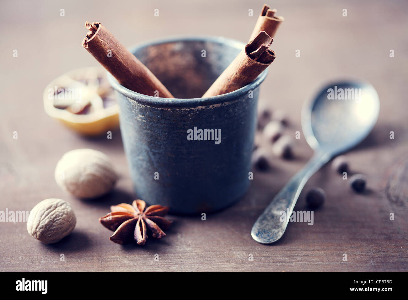 herbs and spices in a rustic setting Stock Photo