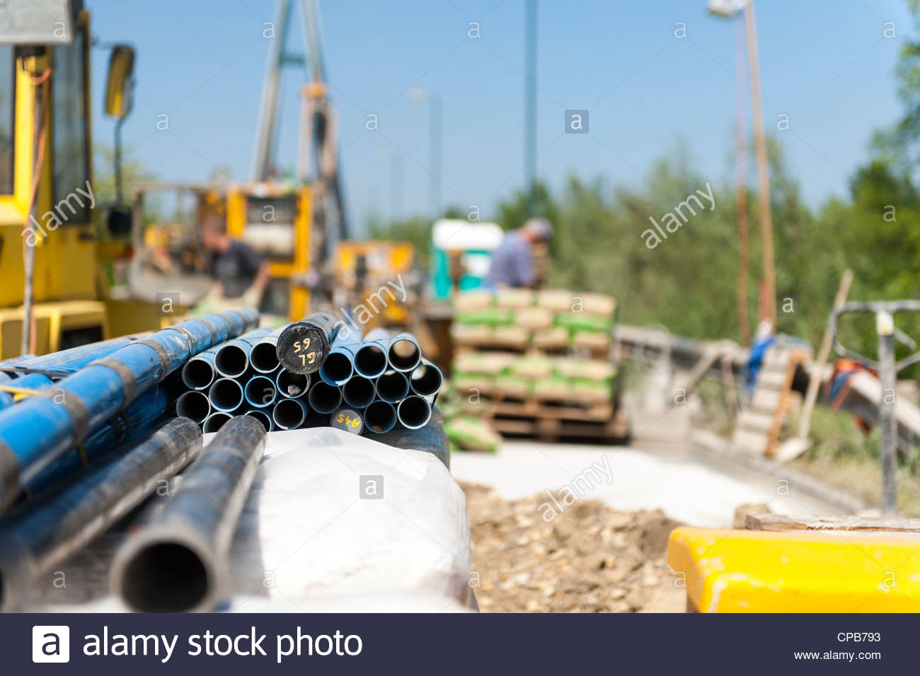 A look at a grouting site. - Stock Image