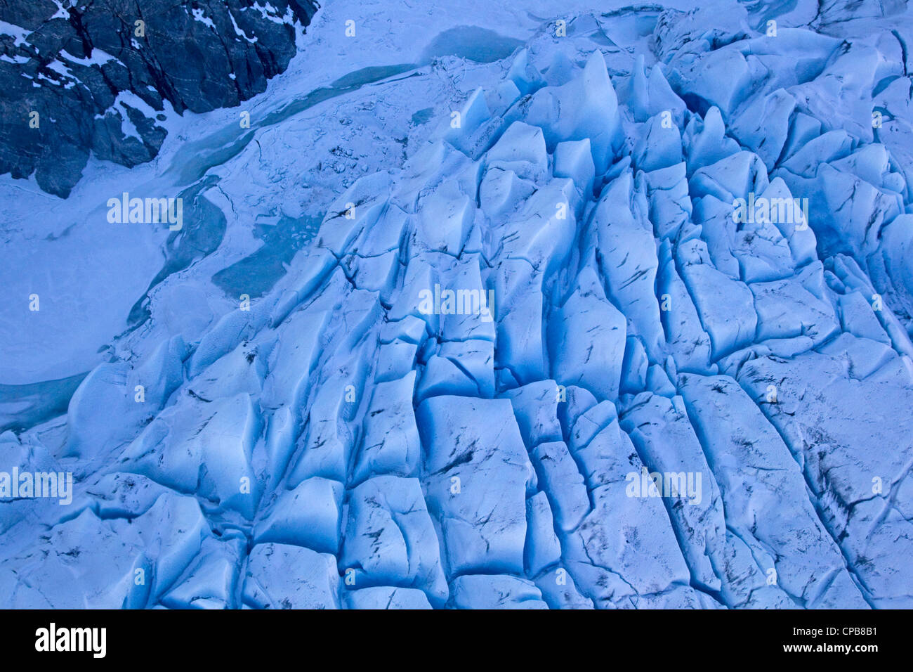 Glacier from above, close up blue detail texture, Alaska - Stock Image