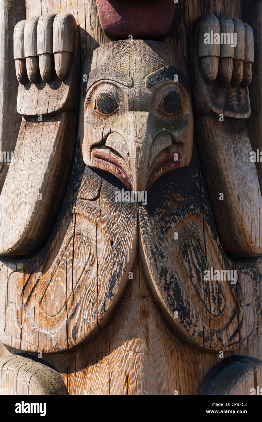 Totem pole detail, Steinbrueck Park, Pike Place, Seattle - Stock Image