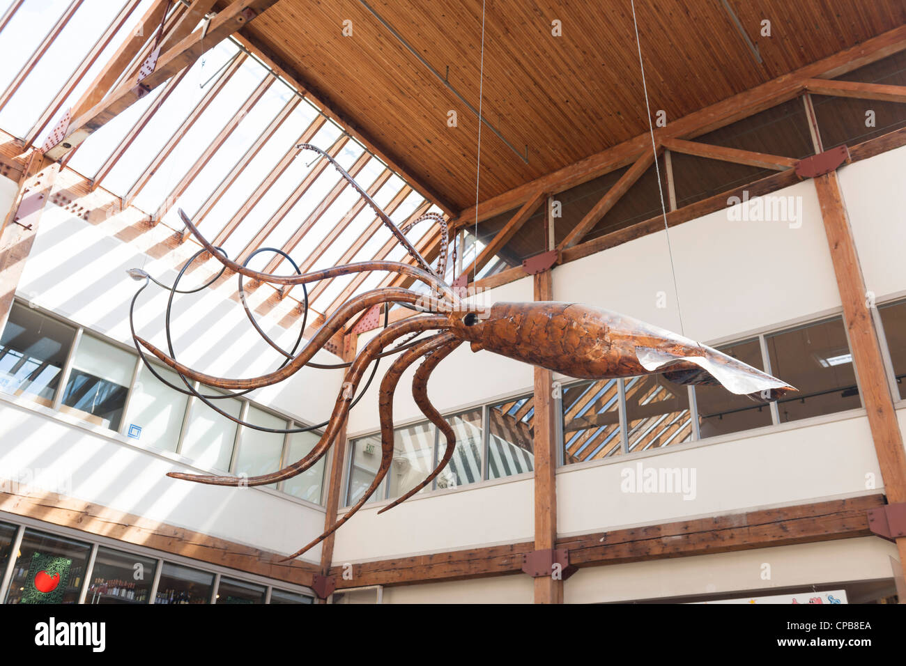 Giant Squid by Patrick Wickline, Pike Place, Seattle - Stock Image
