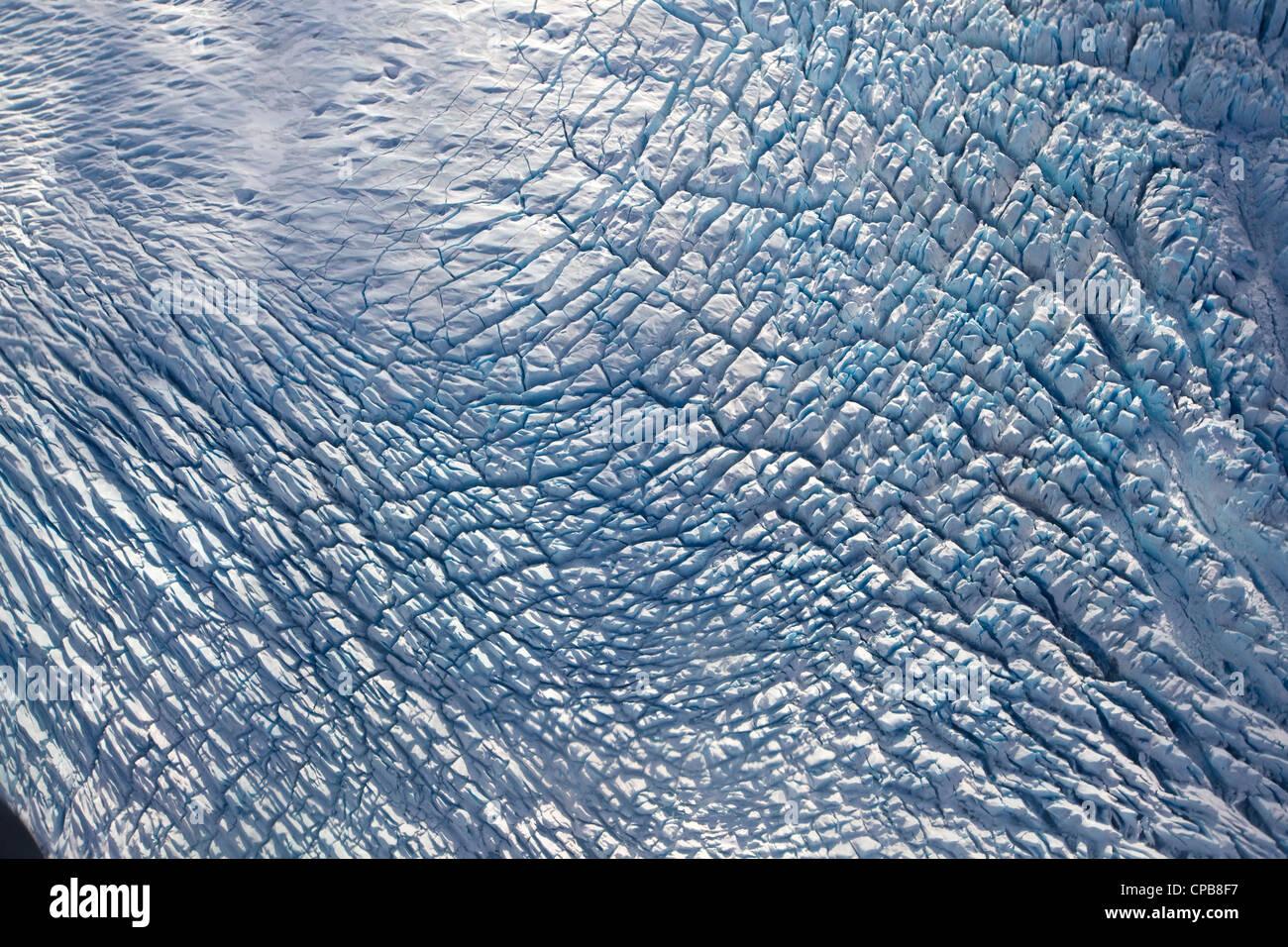 Knik Glacier ice in Chugach Mountains, Alaska, aerial photo - Stock Image