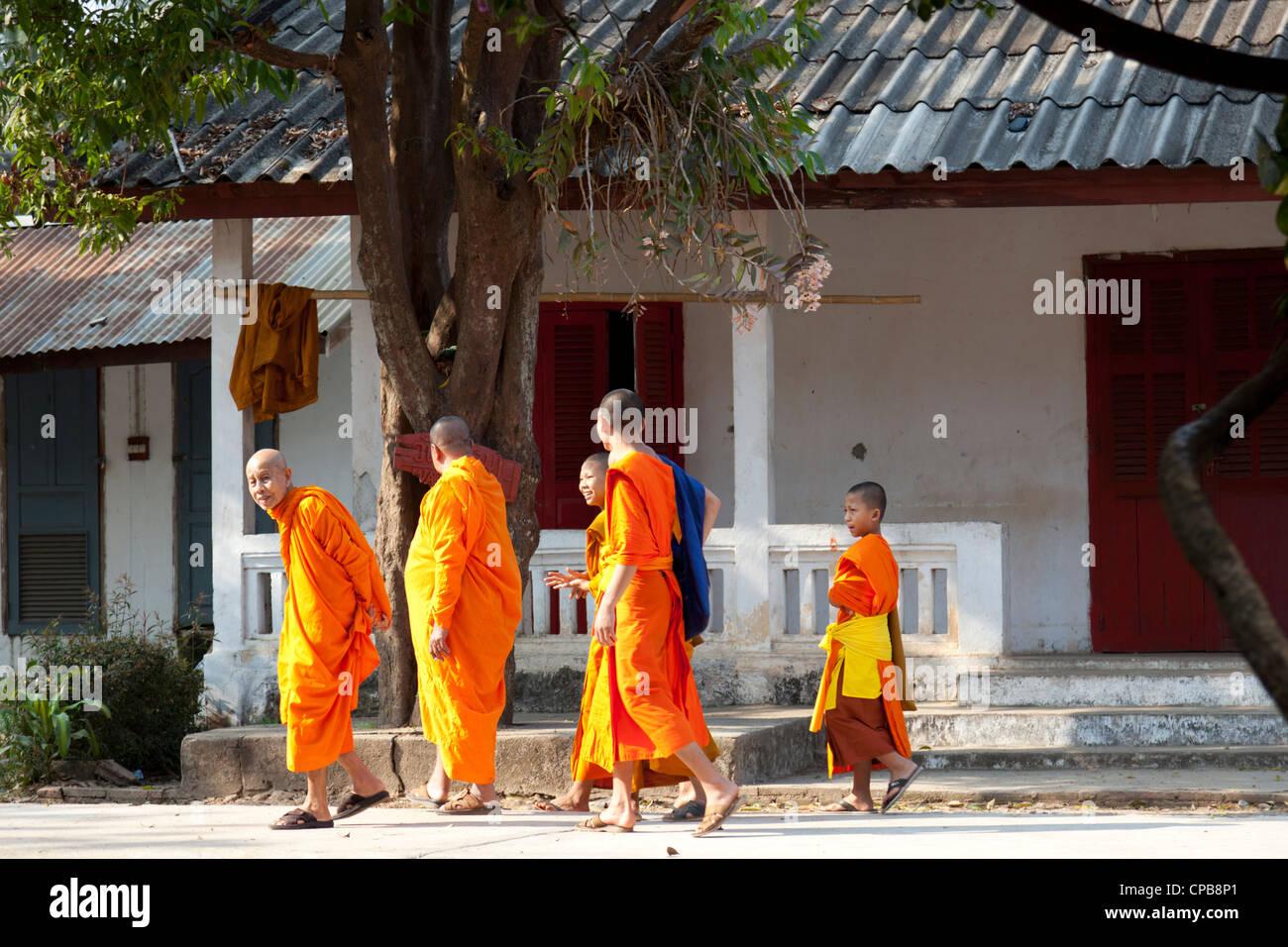 A funny shot of monks of all ages moving in group, at Luang Prabang (Laos). Une amusante photo de moines se déplaçant - Stock Image