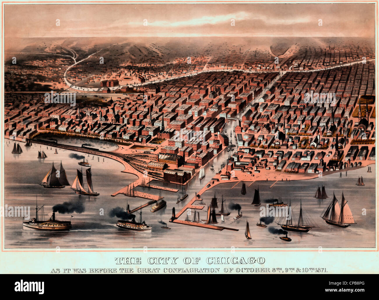 The City of Chicago as it was before the Great Conflagration of October 1871 - Stock Image
