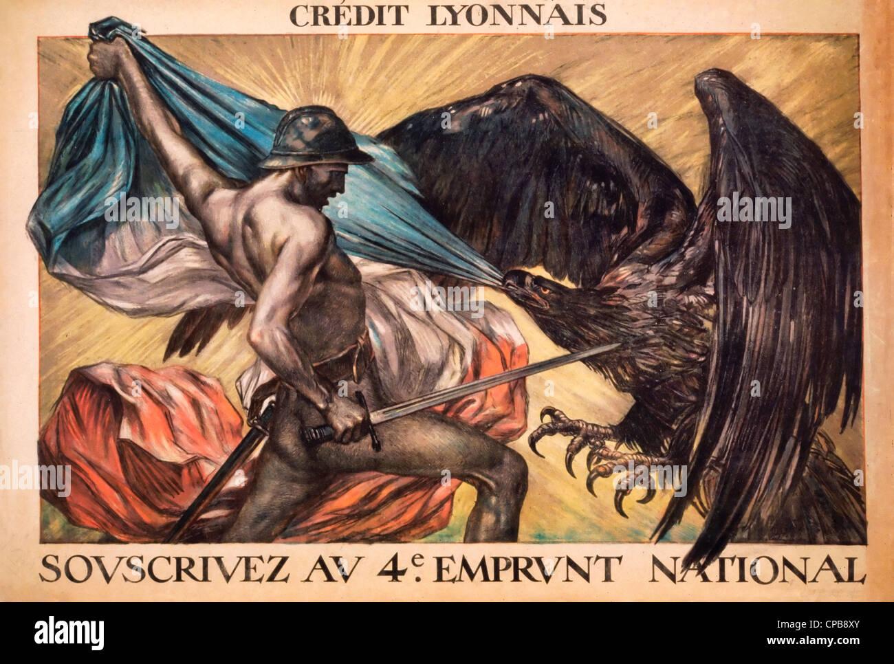 Crédit Lyonnais. Souscrivez au 4e Emprunt National A male 'allegorical' figure armed with a sword pulling - Stock Image