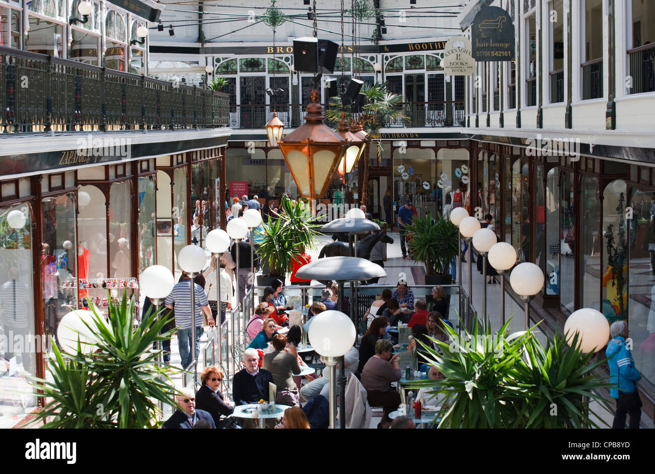 Shoppers in Wayfarers arcade shopping centre mall,  Southport merseyside Uk Stock Photo