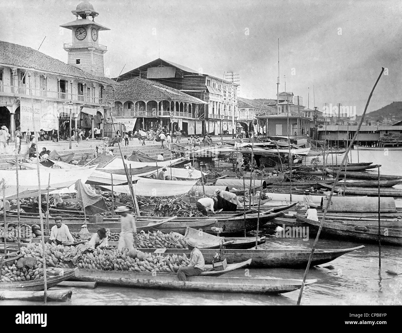 Wharf in Guayaquil, Ecuador, circa 1915 Stock Photo