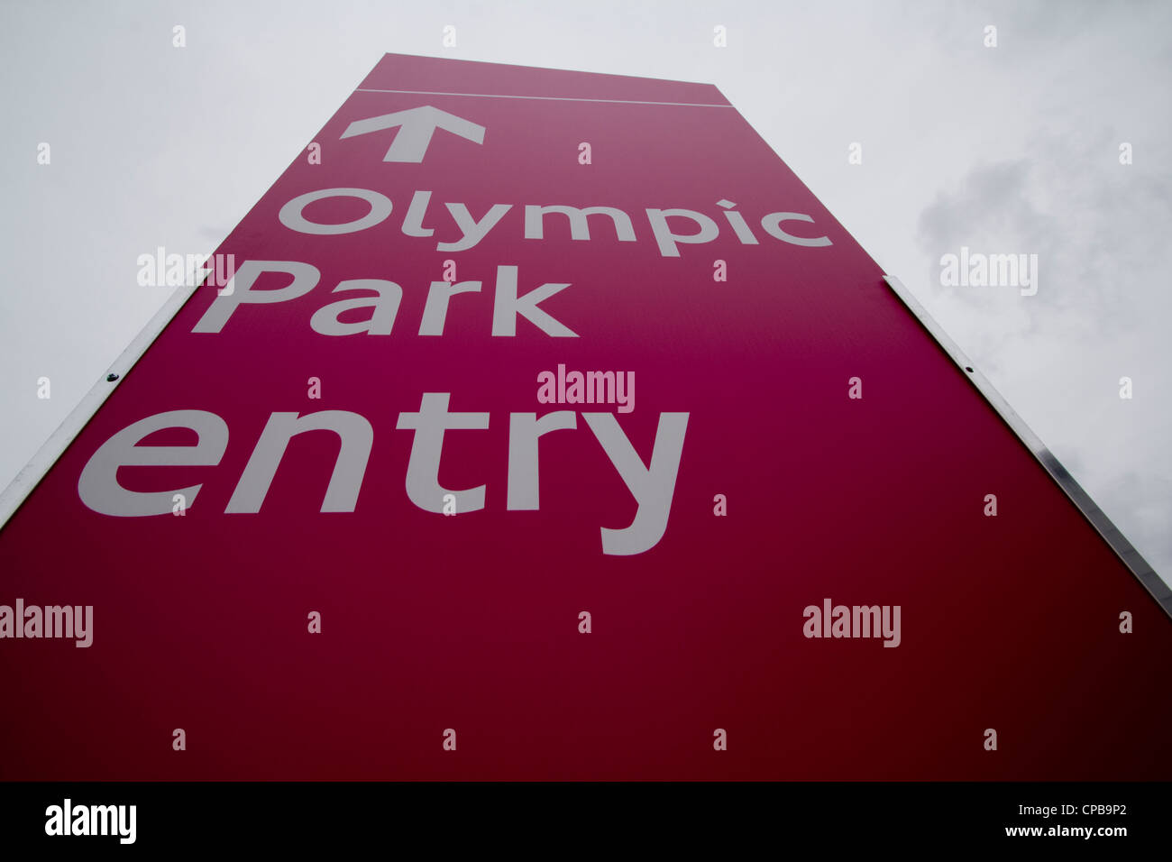 Olympic park entry sign stratford - Stock Image