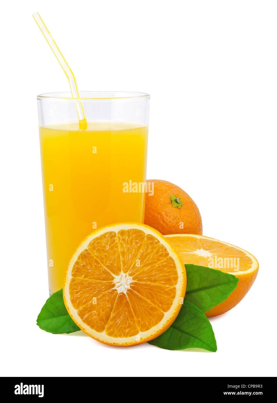 Orange juice and oranges with leaves on white background - Stock Image