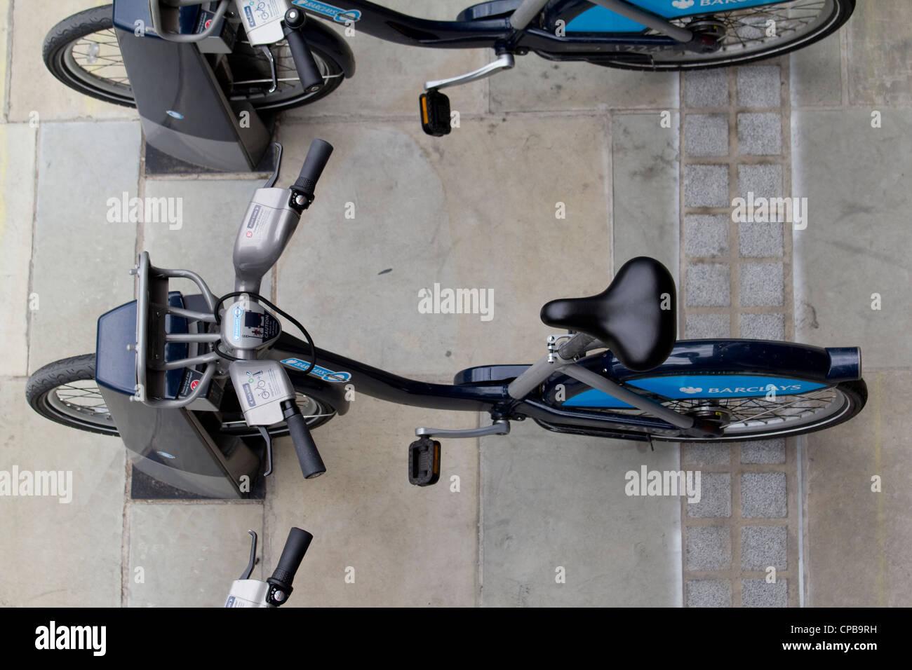 Boris bikes, london cycle rental scheme, blue barclays bicycles - Stock Image