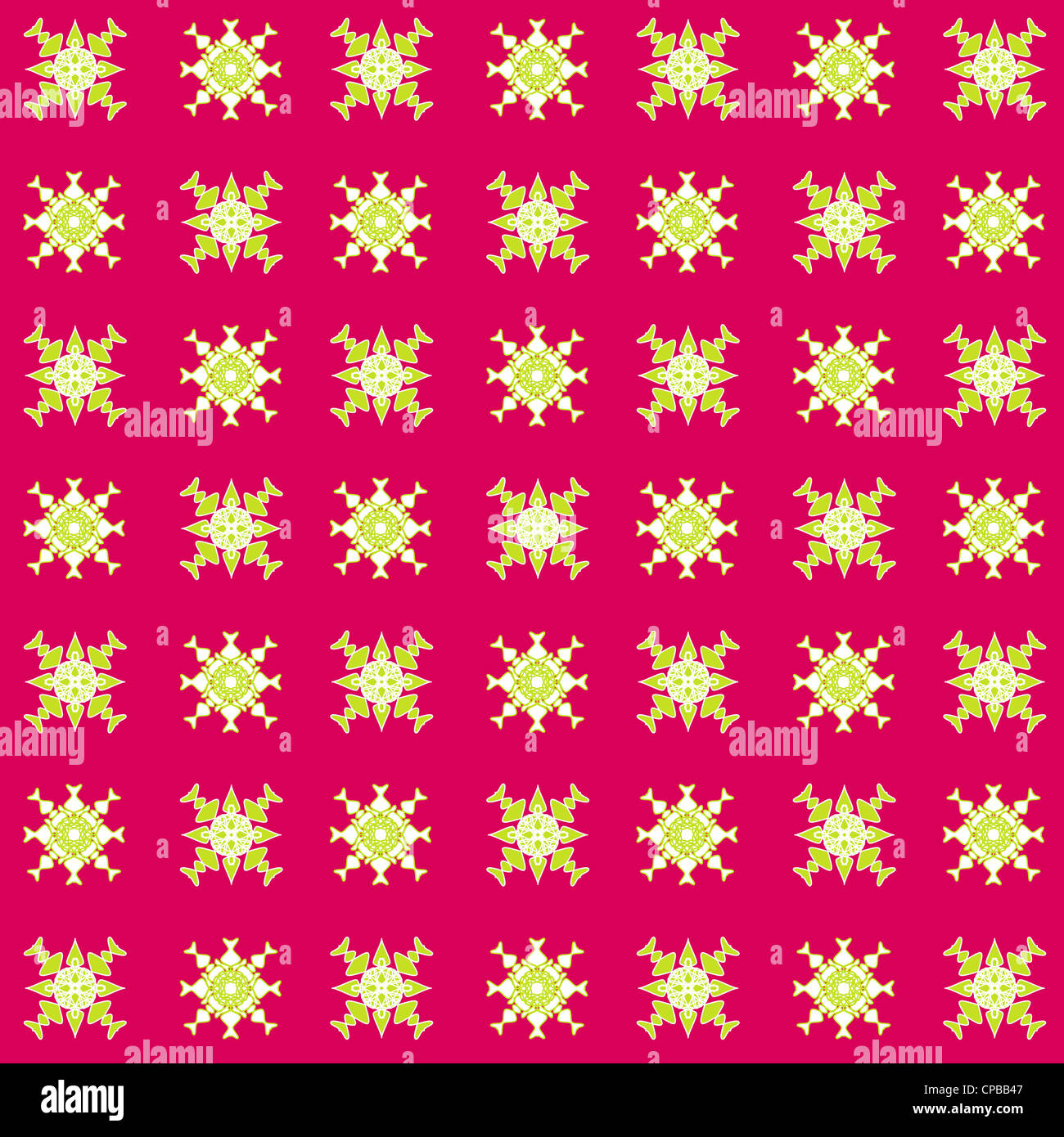Artistic seamless pattern in green on pink background Stock Photo