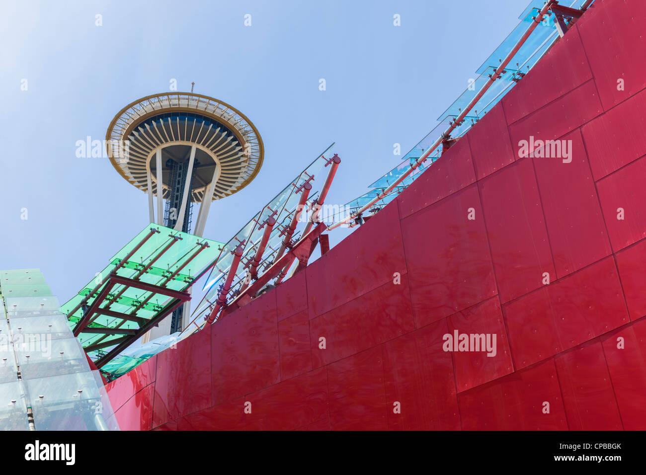 Space Needle & EMP Museum Seattle Center Stock Photo