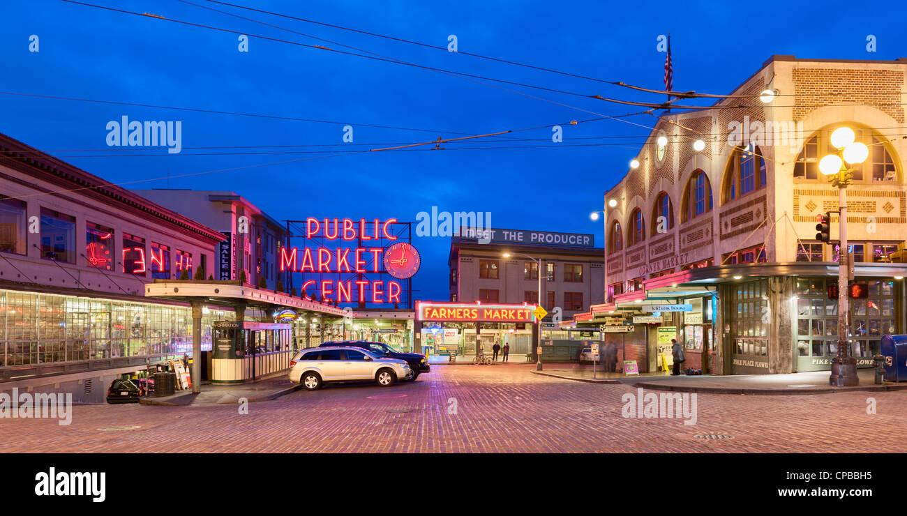 Pike Place public farmers Market Seattle - Stock Image