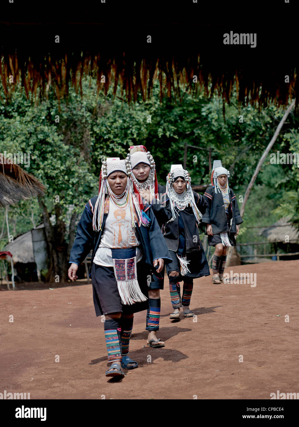 Akha hill tribe women of Northern Thailand. Chiang Mai province. Rural Thailand people S.E. Asia. Hill tribes - Stock Image