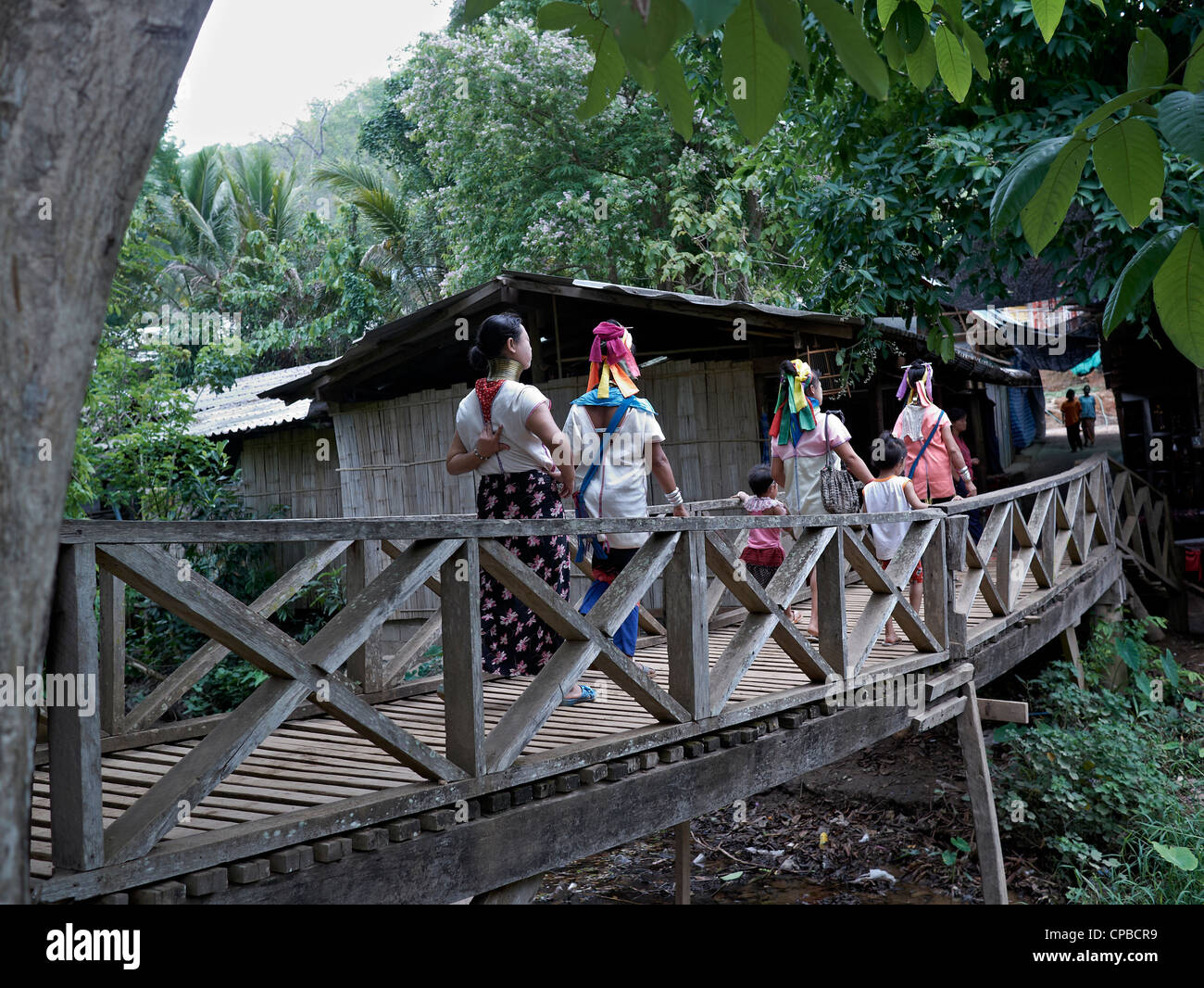 Rural village scene of long neck (Kayan) hill tribe people of Northern Thailand rural Hilltribe Villager. Hill tribes. - Stock Image