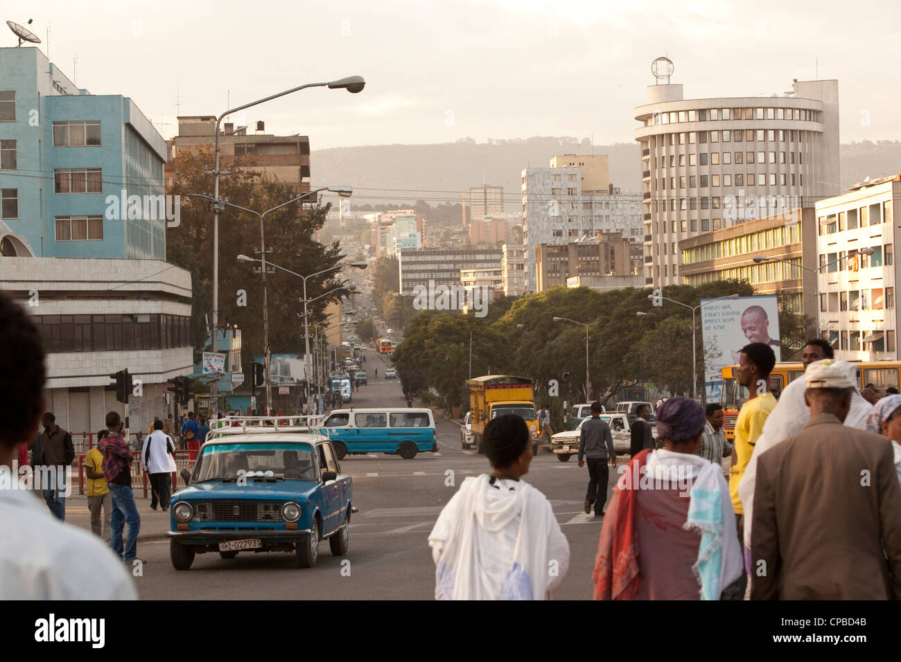 Churchill Ave. - Downtown Addis Ababa, Ethiopia. - Stock Image
