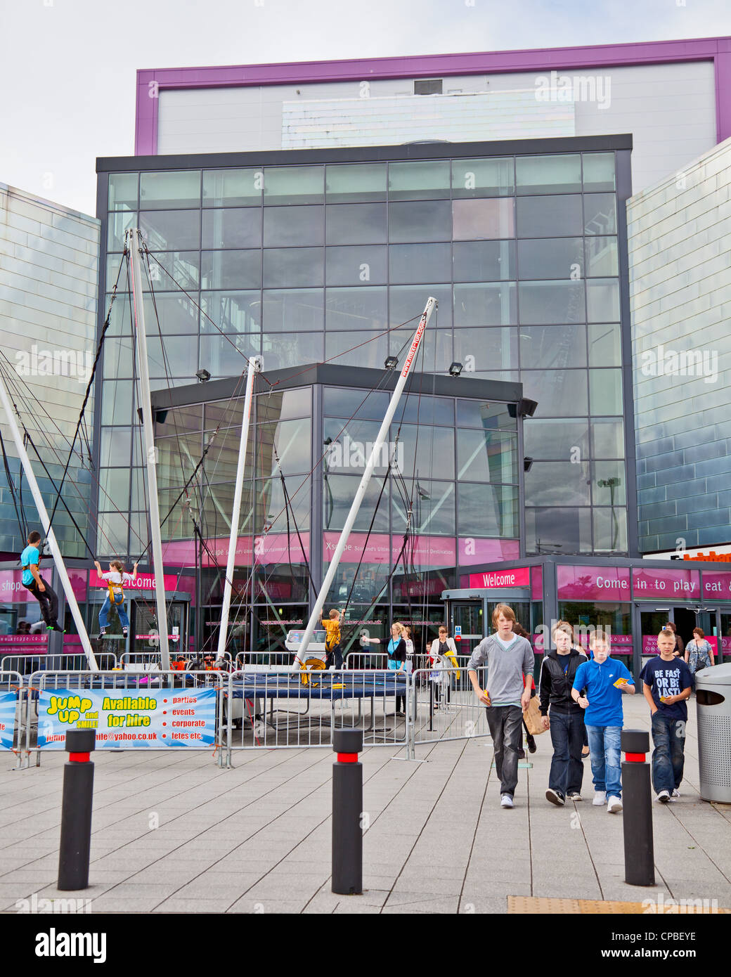 People Outside The Main Entrance Of XScape, An Entertainment Complex; In  Braehead, Renfrew; West Of Glasgow