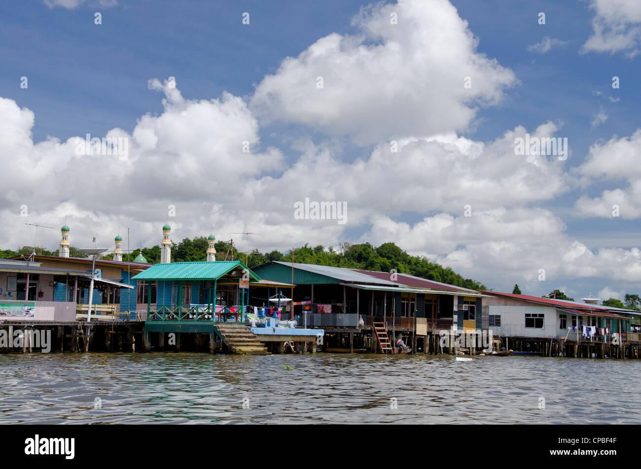 Asia, Borneo, Brunei Darussalam, Bandar Seri Begawan. Historic Water Village. - Stock Image