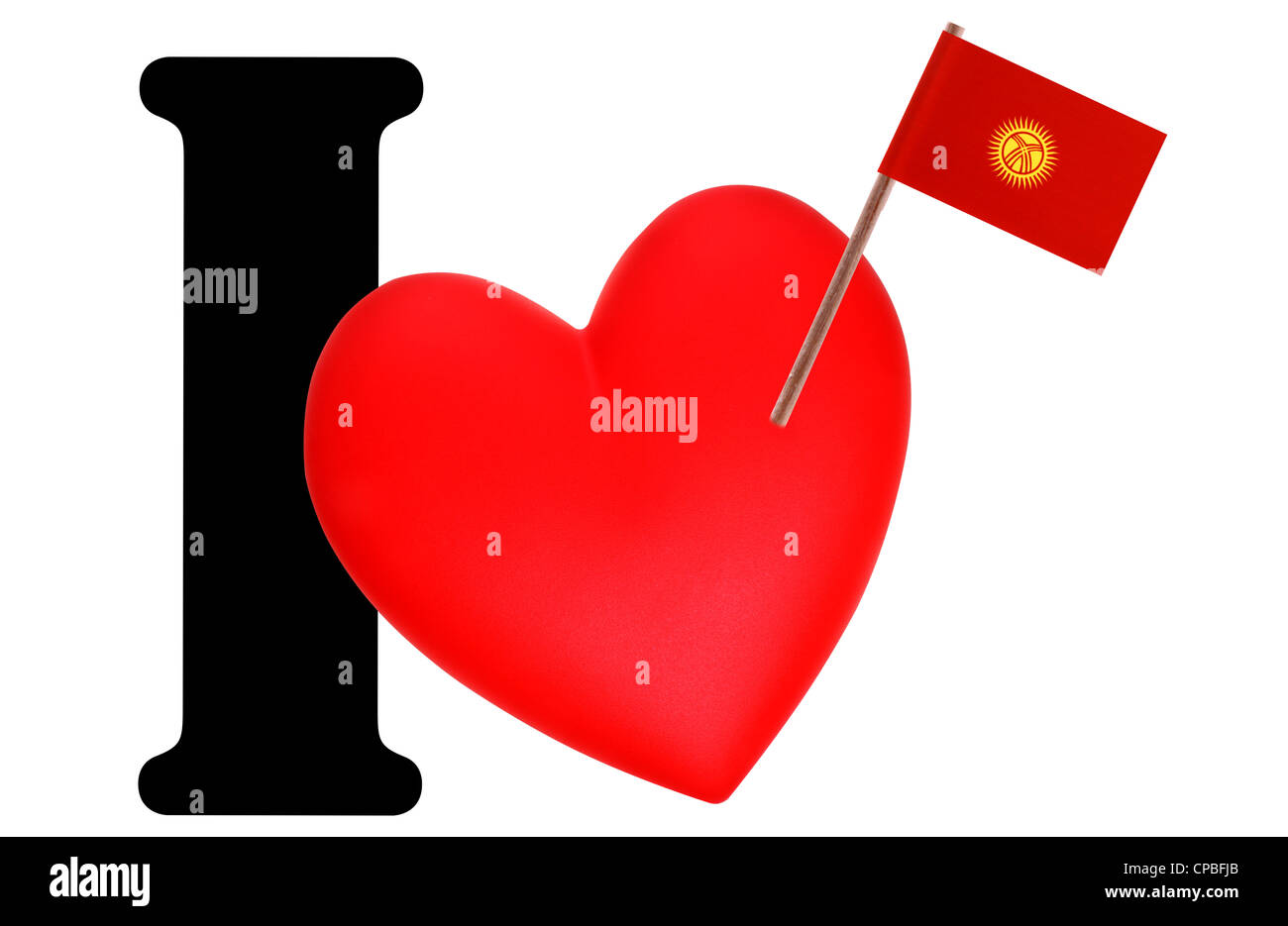 Small flag on a red heart and the word I to express love for the national flag of Kyrgystan - Stock Image