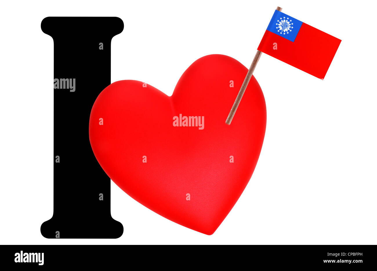 Small flag on a red heart and the word I to express love for the national flag of Myanmar Stock Photo