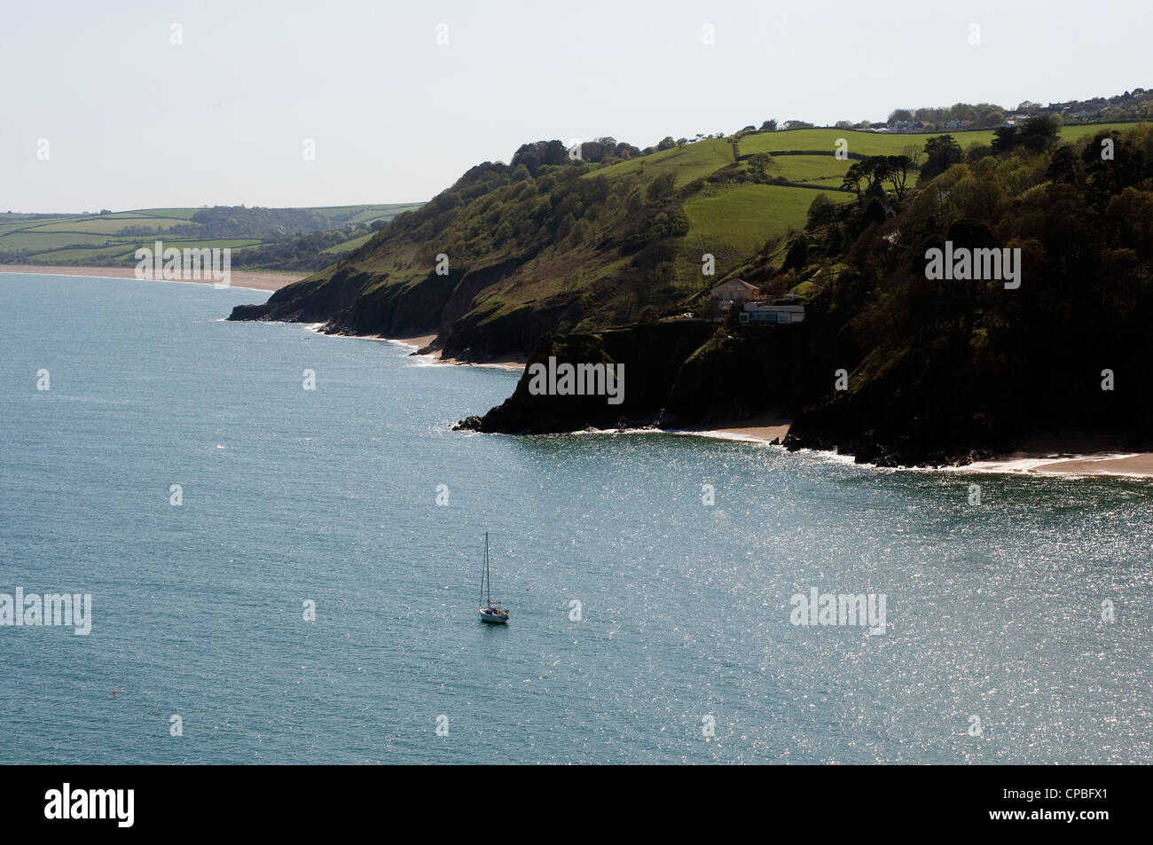 blackpool sands,Devon,Blackpool sands,South Hams,Devon,sands, Bay,South Hams,Devon, bay, boat, britain, british, - Stock Image