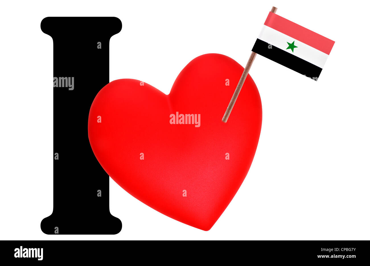 Small flag on a red heart and the word I to express love for the national flag of Yemen - Stock Image