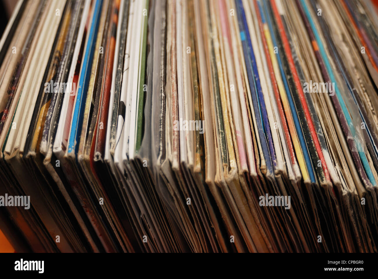 lot of records in sleeves full frame - Stock Image