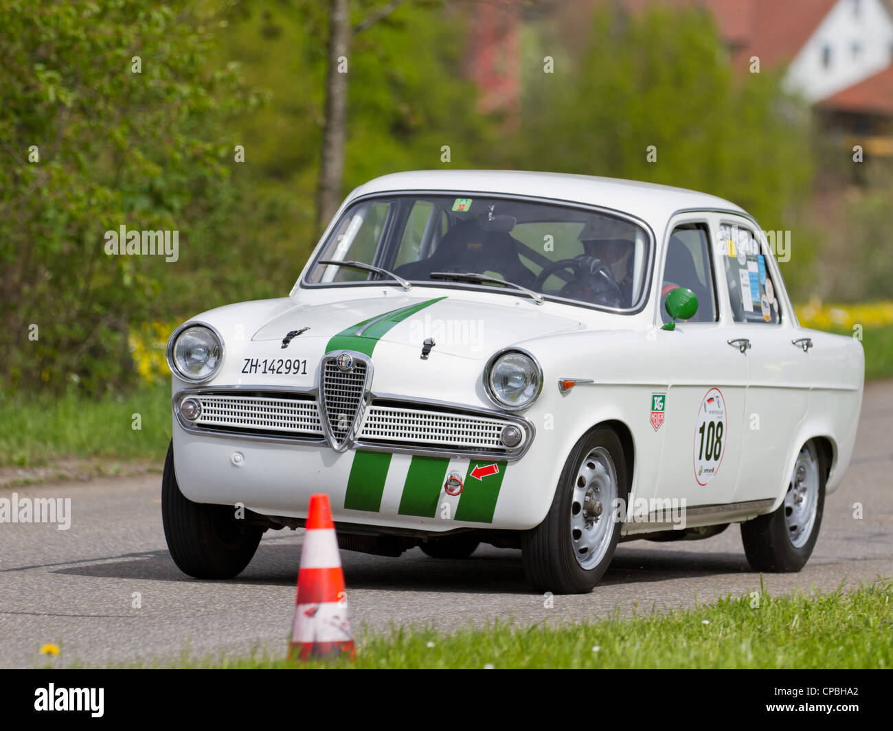 Vintage race touring car Alfa Romeo Giulietta TI from 1961 at Grand Prix in Mutschellen, SUI on April 29, 2012. - Stock Image
