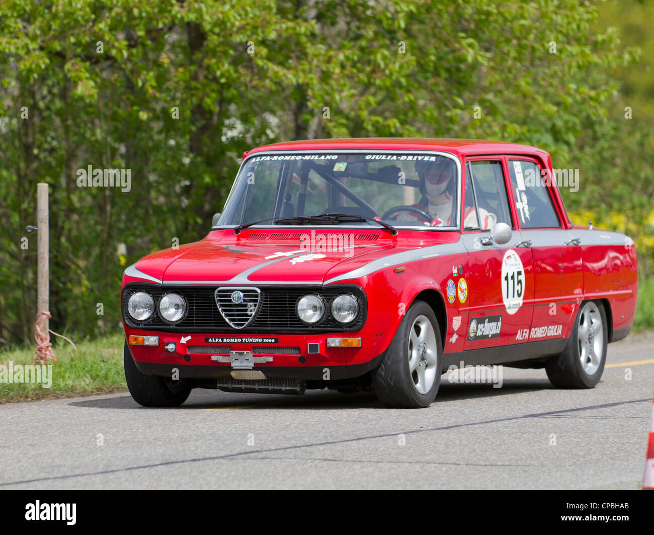 vintage race touring car alfa romeo giulia from 1976 at grand prix in stock photo 48198259 alamy. Black Bedroom Furniture Sets. Home Design Ideas
