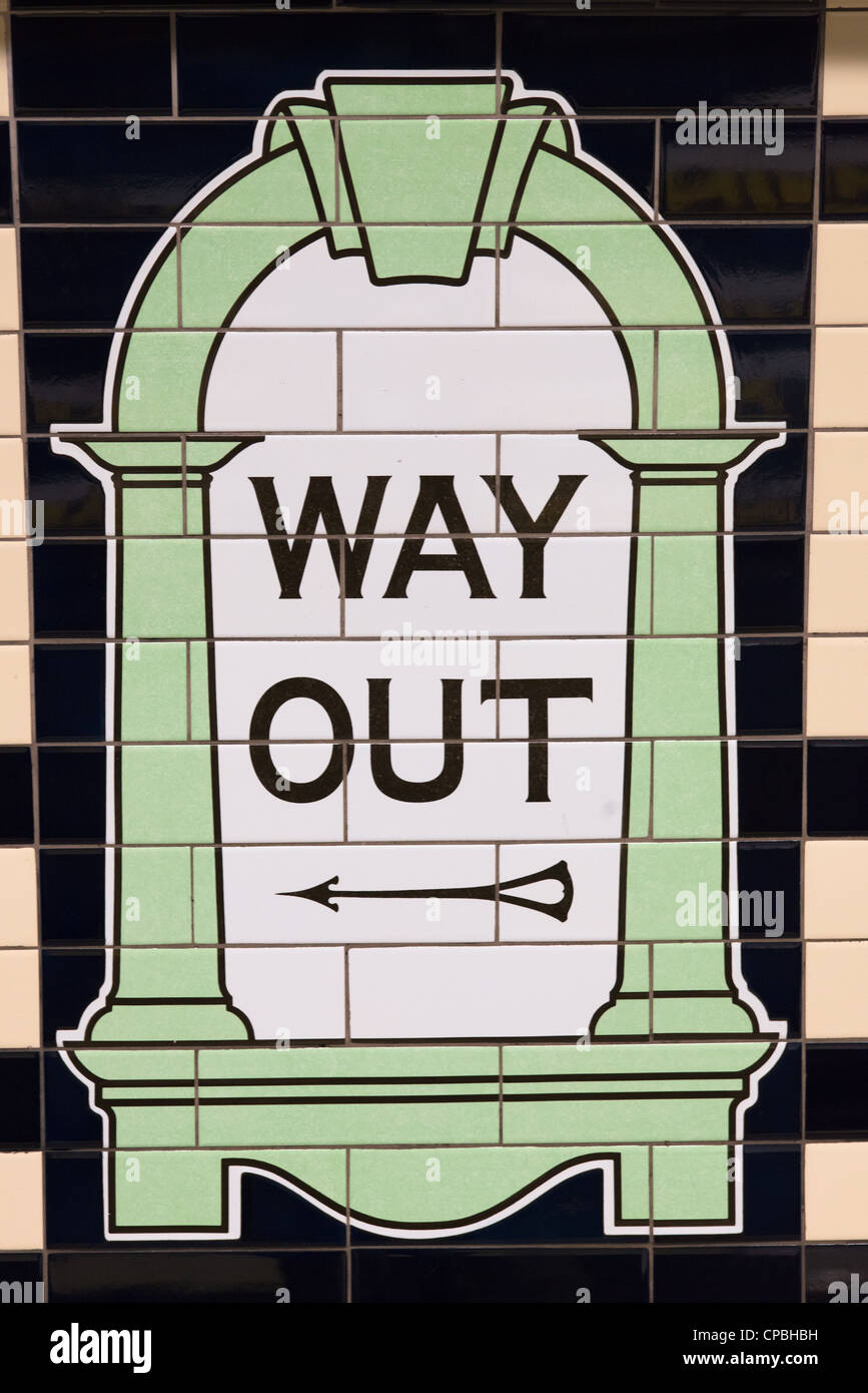 Way out sign in London underground tube station. UK. - Stock Image