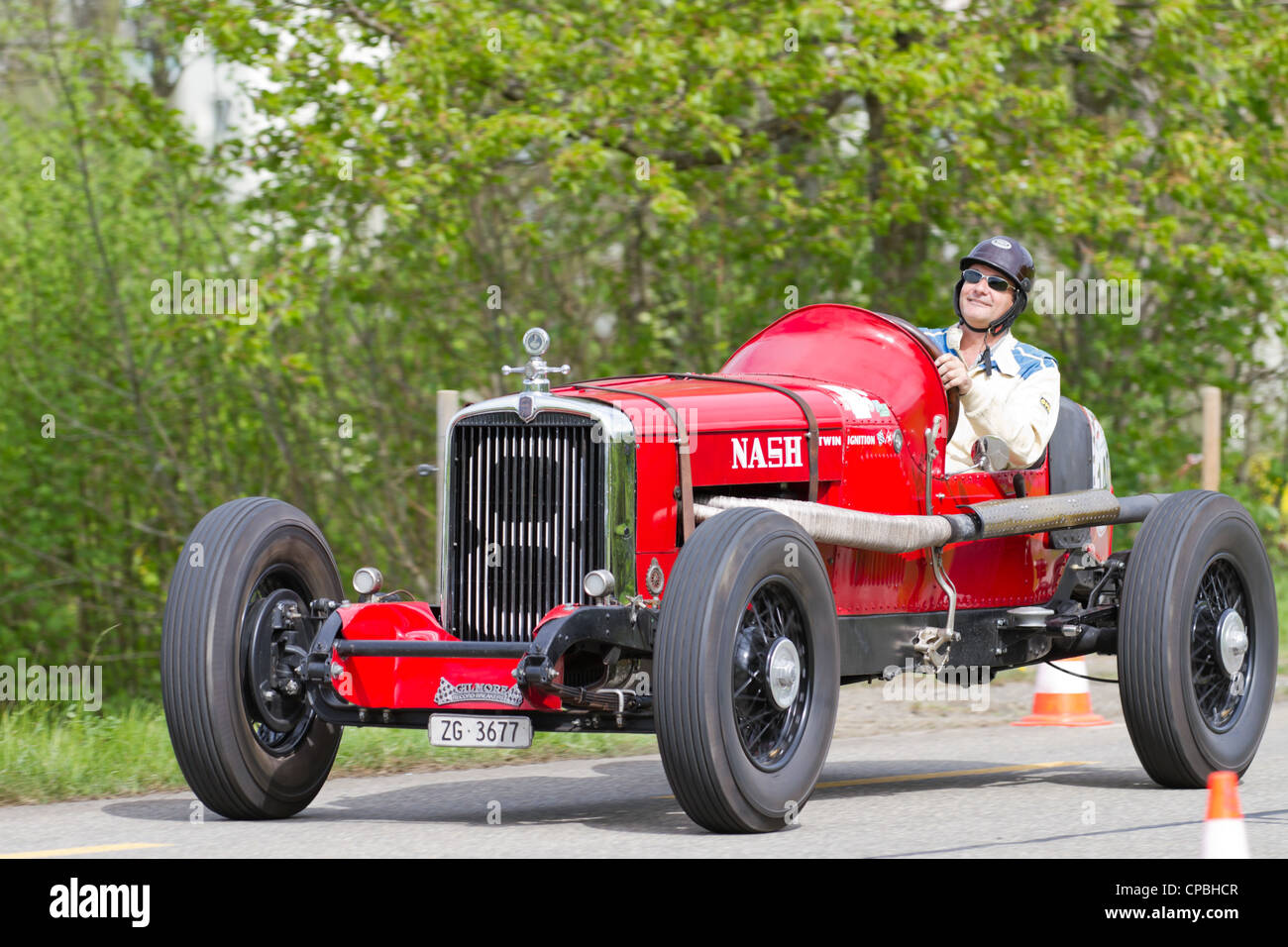 Vintage pre war race car Nash 480 Aeropower from 1930 at Grand Prix in Mutschellen, SUI on April 29, 2012 - Stock Image