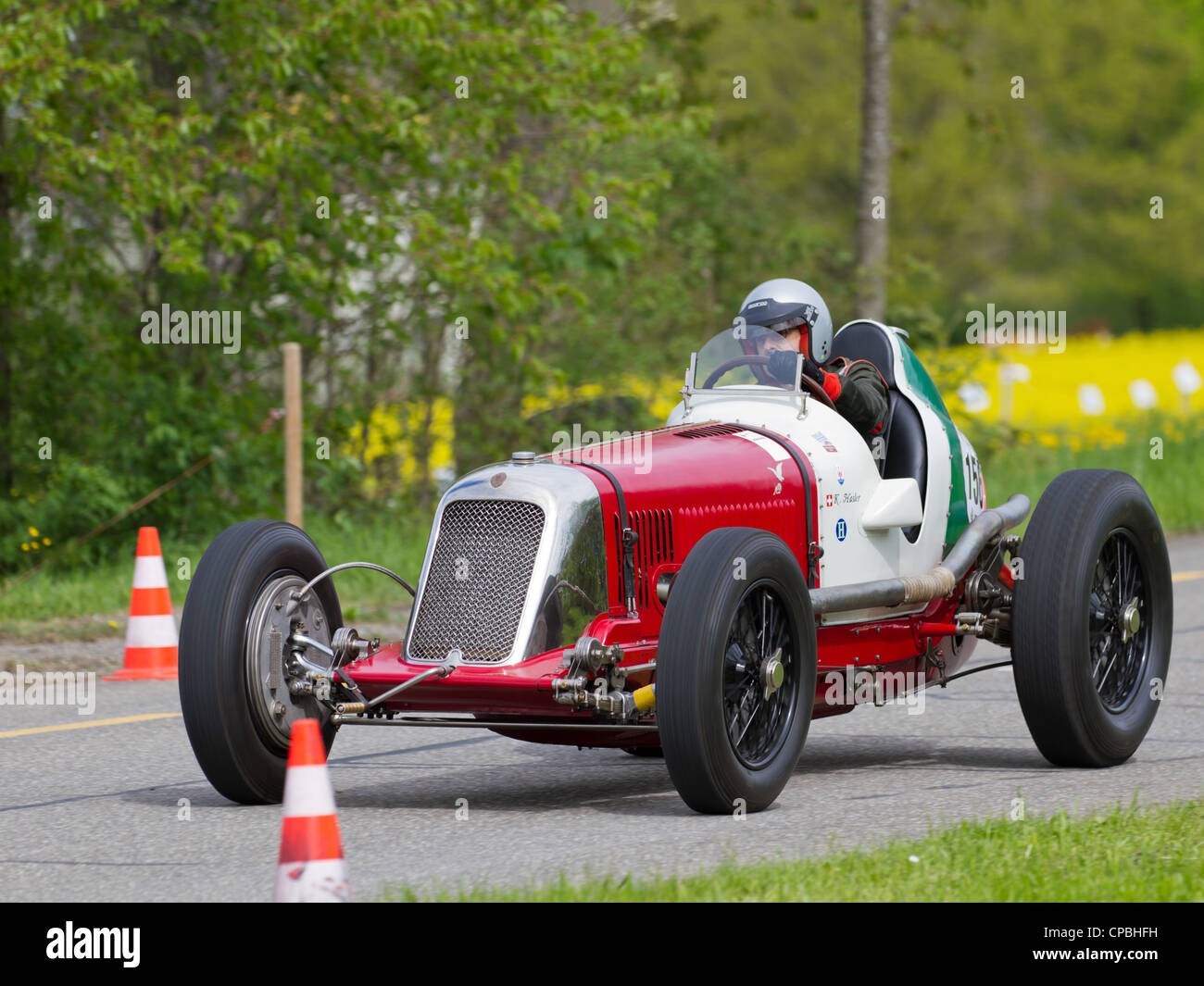 Vintage pre war race car Maserati 8CM from 1933 at Grand Prix in Mutschellen, SUI on April 29, 2012. - Stock Image