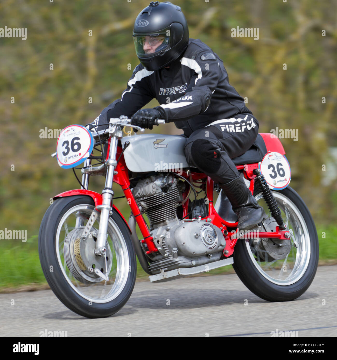 Vintage motorbike Norton Manx M40 from 1962 on display at Grand Prix in Mutschellen, SUI on April 29, 2012 - Stock Image