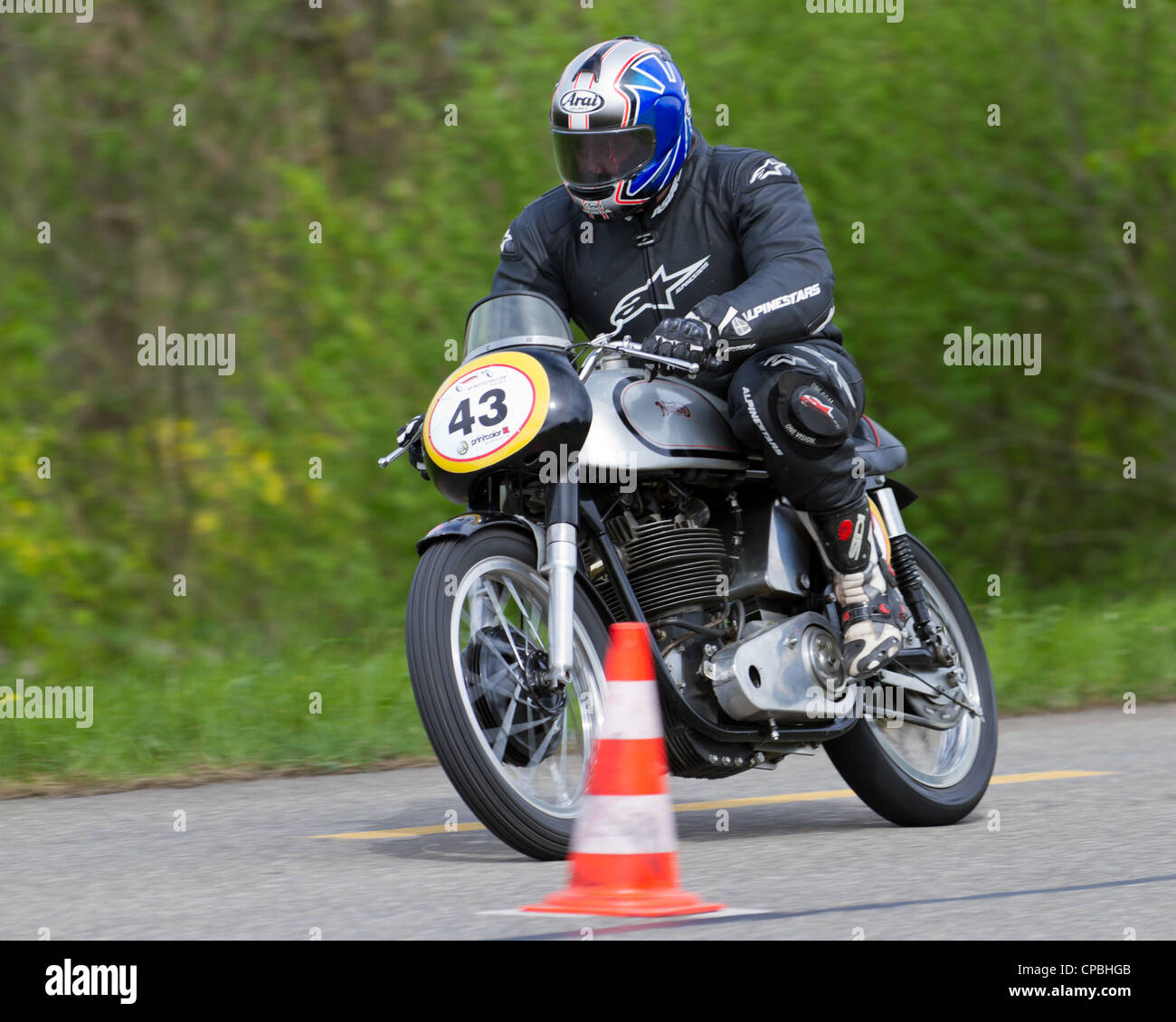 Vintage motorbike Norton Manx from 1959 on display at Grand Prix in Mutschellen, SUI on April 29, 2012 - Stock Image