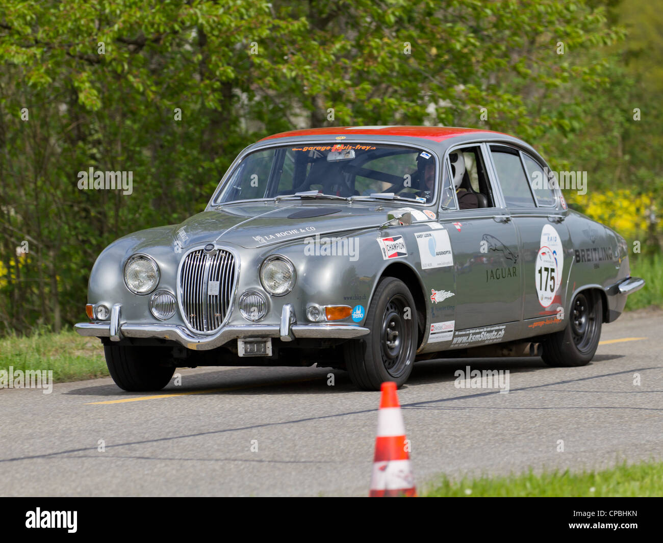 Vintage race touring car Jaguar 3.8 S from 1965 at Grand Prix in ...