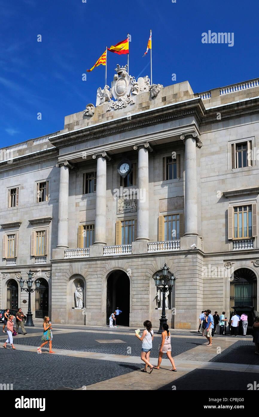 The Casa de la Ciutat (city hall), Plaça de Sant Jaume, Barri Gòtic, Barcelona, Spain - Stock Image