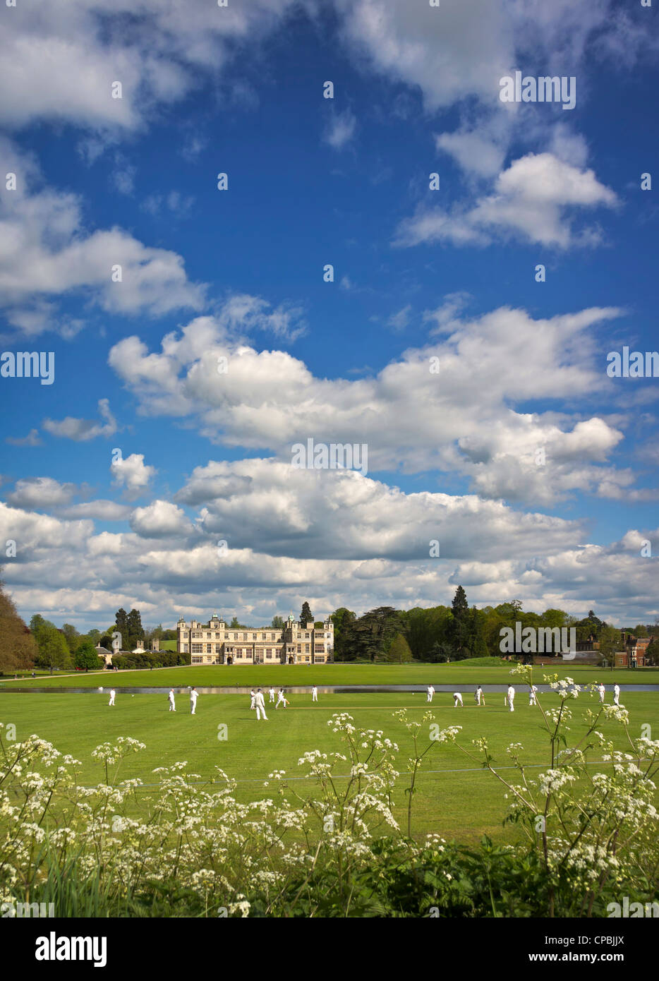 Audley End House and cricket - Stock Image