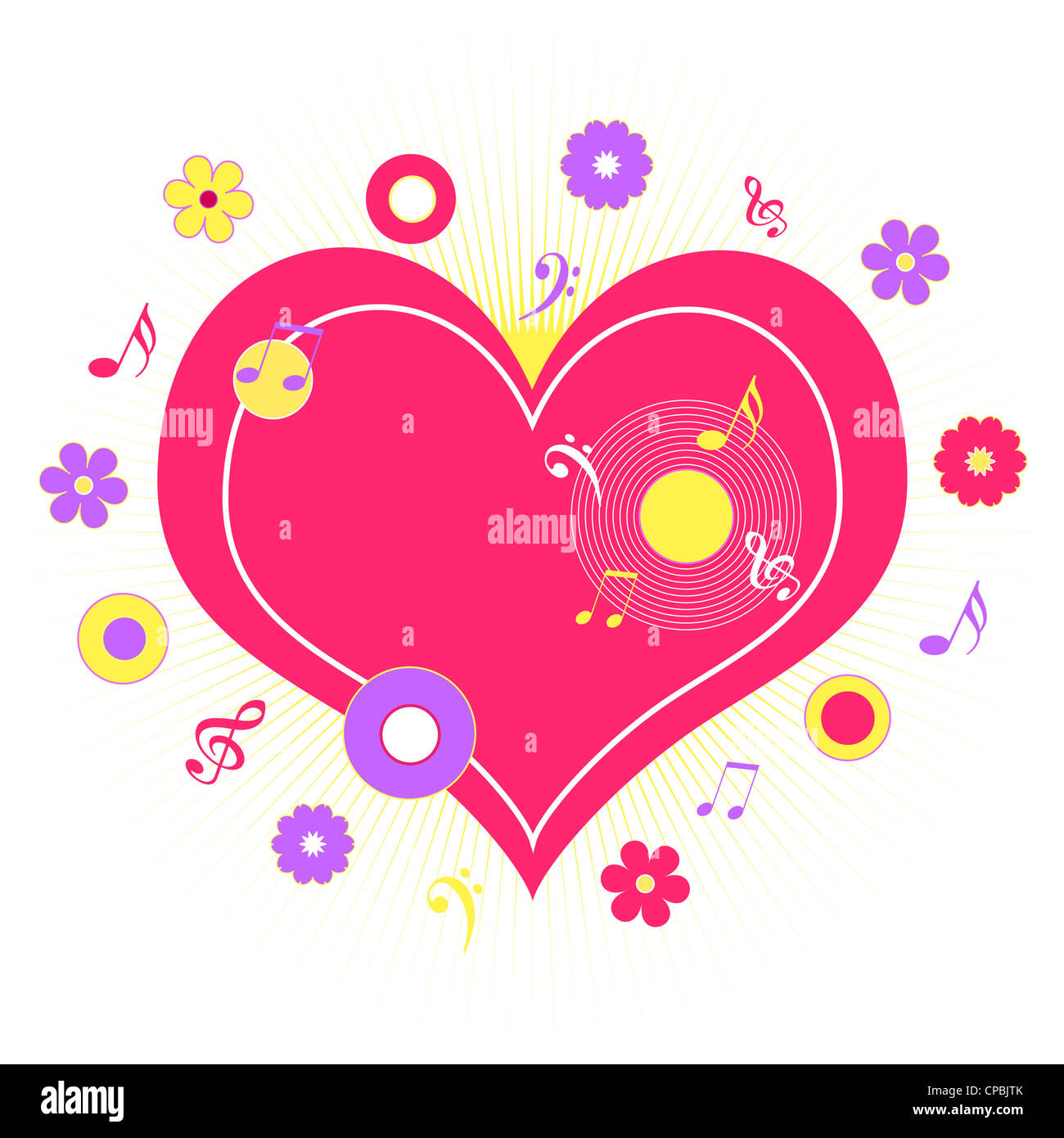 Pink heart with musical notes and flowers design Stock Photo
