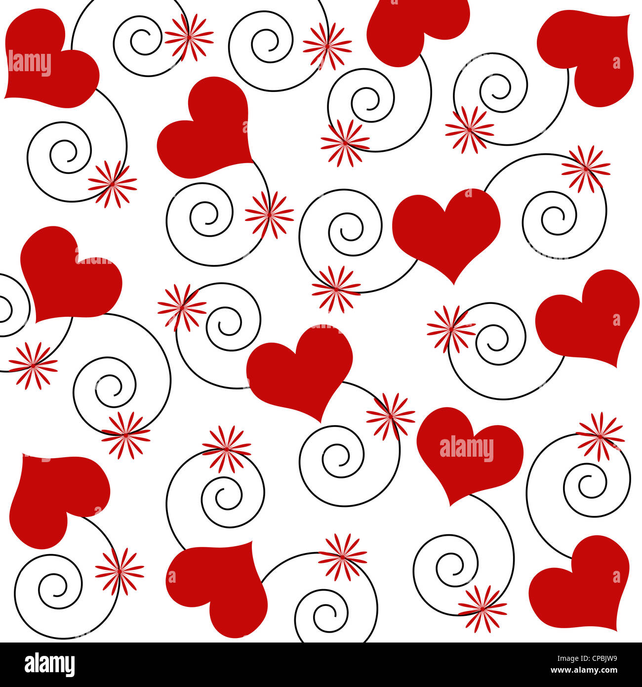 Red hearts and swirls pattern on white Stock Photo
