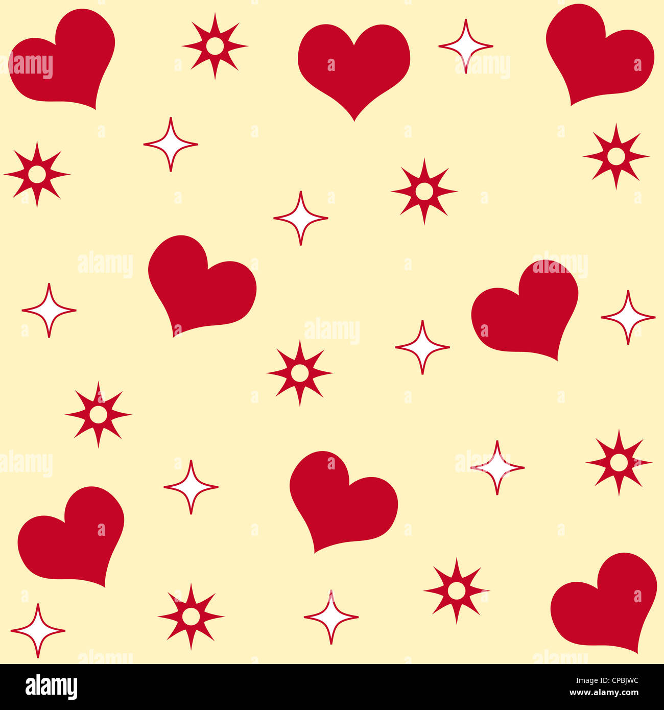 Seamless hearts and stars pattern Stock Photo