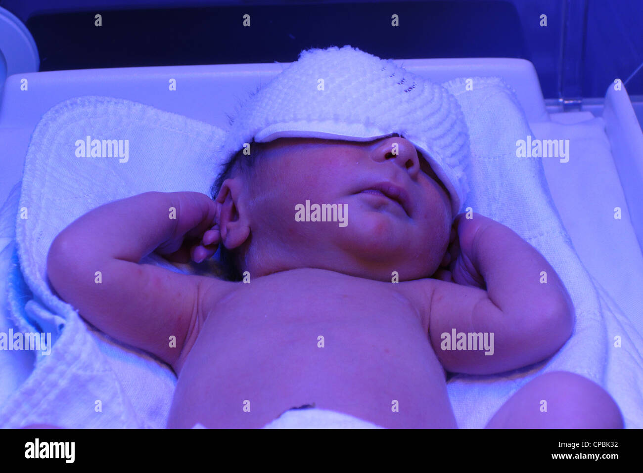 A one day old baby having photo therapy for jaundice - Stock Image